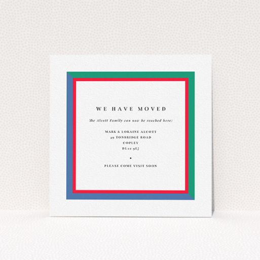 """A change of address card called """"Bold Border"""". It is a square (148mm x 148mm) card in a square orientation. """"Bold Border"""" is available as a flat card, with mainly green colouring."""