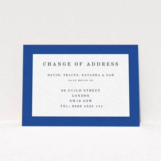 """A change of address card design titled """"Broader Border Impact"""". It is an A6 card in a landscape orientation. """"Broader Border Impact"""" is available as a flat card, with tones of blue and white."""