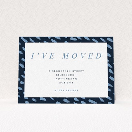 """A change of address card called """"Drops"""". It is an A6 card in a landscape orientation. """"Drops"""" is available as a flat card, with tones of blue and white."""