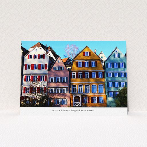 """A change of address card design titled """"Full Photo"""". It is an A6 card in a landscape orientation. It is a photographic change of address card with room for 1 photo. """"Full Photo"""" is available as a flat card, with mainly white colouring."""