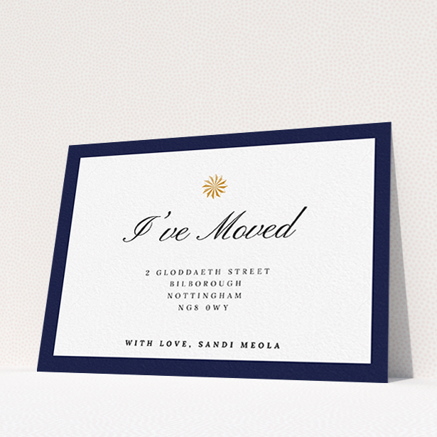 """A change of address card design called """"Golden Sundial"""". It is an A6 card in a landscape orientation. """"Golden Sundial"""" is available as a flat card, with tones of navy blue and white."""