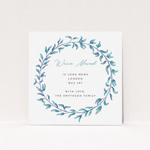 """A change of address card design titled """"Hellenic"""". It is a square (148mm x 148mm) card in a square orientation. """"Hellenic"""" is available as a flat card, with tones of white, blue and green."""