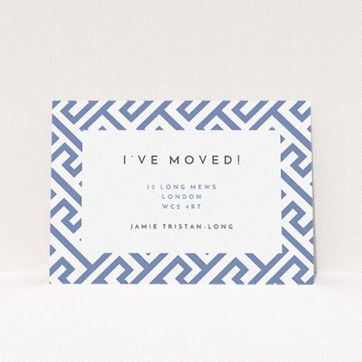 """A change of address card design called """"Latch and Key"""". It is an A6 card in a landscape orientation. """"Latch and Key"""" is available as a flat card, with tones of blue and white."""