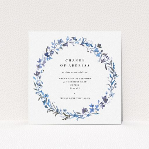 """A change of address card design named """"Light Blue Florals"""". It is a square (148mm x 148mm) card in a square orientation. """"Light Blue Florals"""" is available as a flat card, with tones of light blue, purple and grey."""
