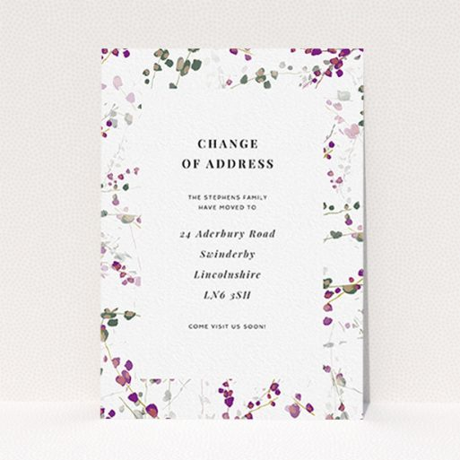 """A change of address card called """"Lilac Backing"""". It is an A6 card in a portrait orientation. """"Lilac Backing"""" is available as a flat card, with tones of white and purple."""