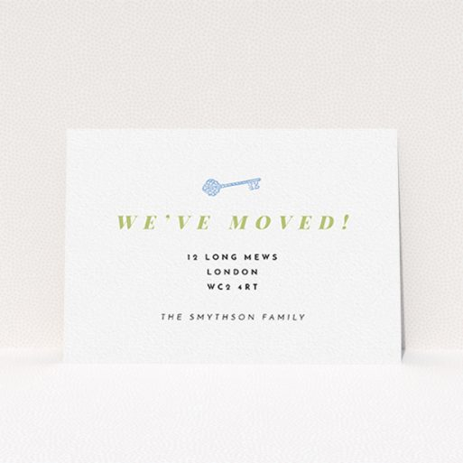 """A change of address card template titled """"Magic Key"""". It is an A6 card in a landscape orientation. """"Magic Key"""" is available as a flat card, with tones of white and green."""
