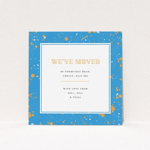 """A change of address card called """"Orange Splatters"""". It is a square (148mm x 148mm) card in a square orientation. """"Orange Splatters"""" is available as a flat card, with tones of light blue and orange."""