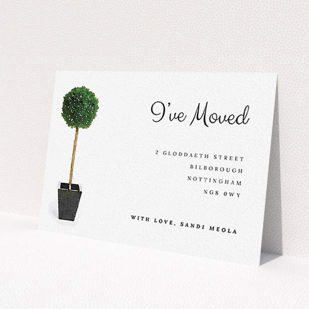 """A change of address card called """"Plant your feet"""". It is an A6 card in a landscape orientation. """"Plant your feet"""" is available as a flat card, with tones of green and white."""