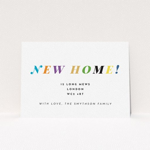 """A change of address card called """"Rainbow Home"""". It is an A6 card in a landscape orientation. """"Rainbow Home"""" is available as a flat card, with tones of white and green."""