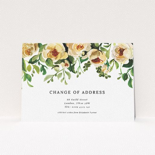 """A change of address card design titled """"Rose Roof"""". It is an A6 card in a landscape orientation. """"Rose Roof"""" is available as a flat card, with mainly pink colouring."""
