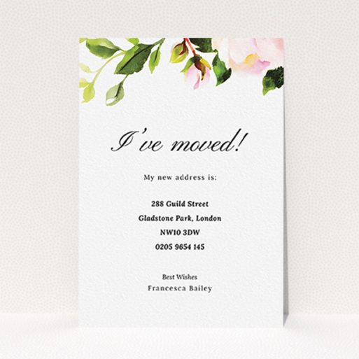 """A change of address card called """"Rose Top"""". It is an A6 card in a portrait orientation. """"Rose Top"""" is available as a flat card, with tones of pink and green."""