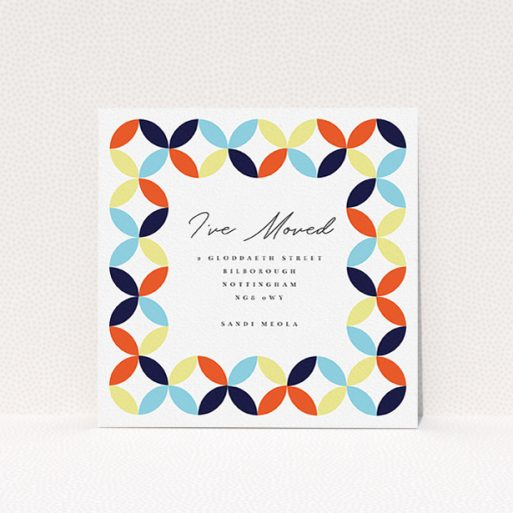 """A change of address card design named """"Round and Round"""". It is a square (148mm x 148mm) card in a square orientation. """"Round and Round"""" is available as a flat card, with tones of orange, light blue and yellow."""