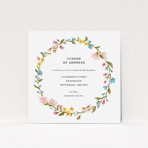 """A change of address card named """"Spring Wreath"""". It is a square (148mm x 148mm) card in a square orientation. """"Spring Wreath"""" is available as a flat card, with mainly pink colouring."""