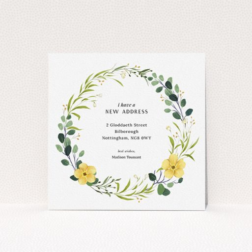 """A change of address card template titled """"Subtle Summer"""". It is a square (148mm x 148mm) card in a square orientation. """"Subtle Summer"""" is available as a flat card, with tones of light green, dark green and yellow."""