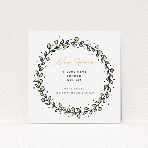 """A change of address card template titled """"Wreath Outline"""". It is a square (148mm x 148mm) card in a square orientation. """"Wreath Outline"""" is available as a flat card, with tones of green, purple and blue."""