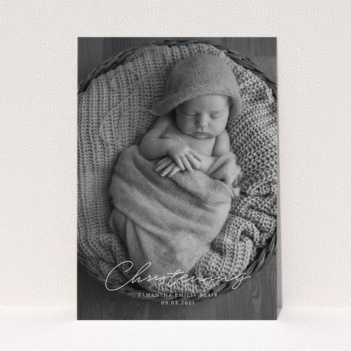 """A christening invitation design called """"Across the Photo"""". It is an A5 invite in a portrait orientation. It is a photographic christening invitation with room for 1 photo. """"Across the Photo"""" is available as a flat invite, with mainly white colouring."""