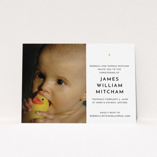 """A christening invitation design named """"Baby Cross"""". It is an A6 invite in a landscape orientation. It is a photographic christening invitation with room for 1 photo. """"Baby Cross"""" is available as a flat invite, with tones of white and gold."""