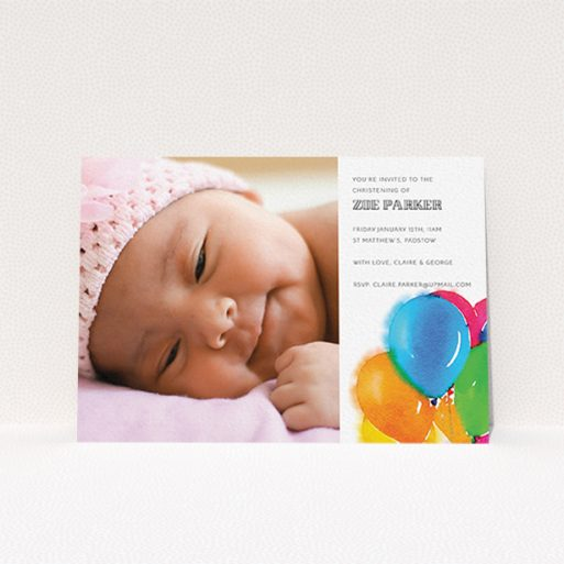 """A christening invitation design called """"Big Balloons"""". It is an A6 invite in a landscape orientation. It is a photographic christening invitation with room for 1 photo. """"Big Balloons"""" is available as a flat invite, with tones of white, orange and blue."""