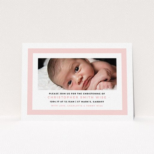 """A christening invitation design titled """"Big Pink"""". It is an A6 invite in a landscape orientation. It is a photographic christening invitation with room for 1 photo. """"Big Pink"""" is available as a flat invite, with tones of pink and white."""