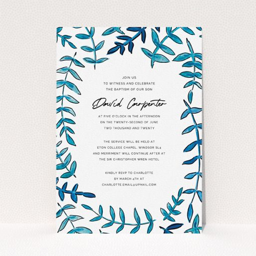 """A christening invitation design called """"Blue Branch Swirl"""". It is an A5 invite in a portrait orientation. """"Blue Branch Swirl"""" is available as a flat invite, with tones of blue and white."""