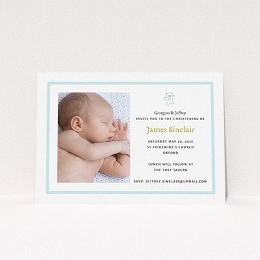 """A christening invitation named """"Blue Teddy"""". It is an A6 invite in a landscape orientation. It is a photographic christening invitation with room for 1 photo. """"Blue Teddy"""" is available as a flat invite, with tones of blue and white."""