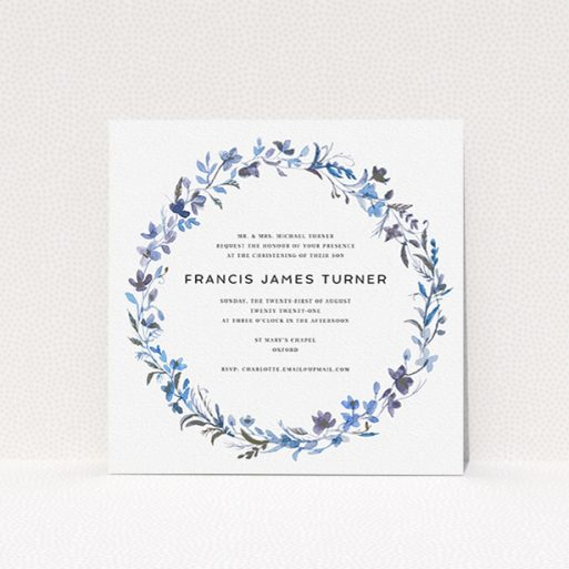 """A christening invitation design called """"Blue Wildflowers"""". It is a square (148mm x 148mm) invite in a square orientation. """"Blue Wildflowers"""" is available as a flat invite, with tones of light blue, purple and grey."""