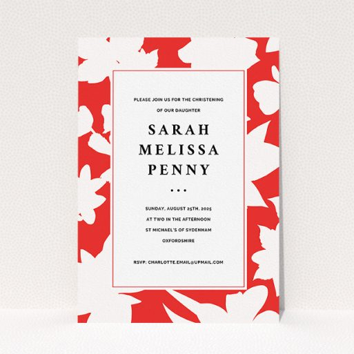 """A christening invitation design called """"Bold Red"""". It is an A5 invite in a portrait orientation. """"Bold Red"""" is available as a flat invite, with tones of red and white."""