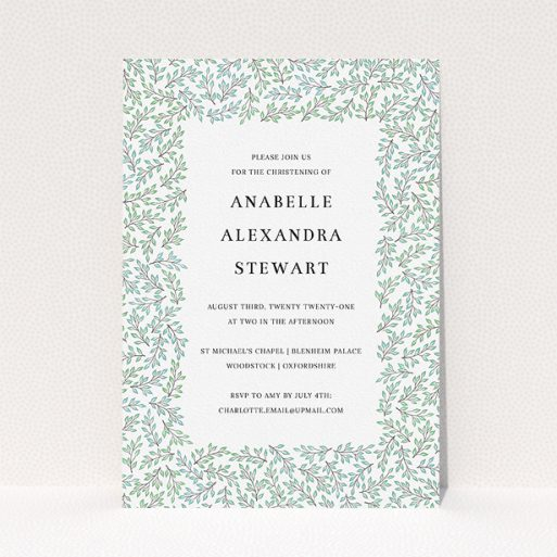 """A christening invitation design called """"Branching Out"""". It is an A5 invite in a portrait orientation. """"Branching Out"""" is available as a flat invite, with tones of blue and green."""