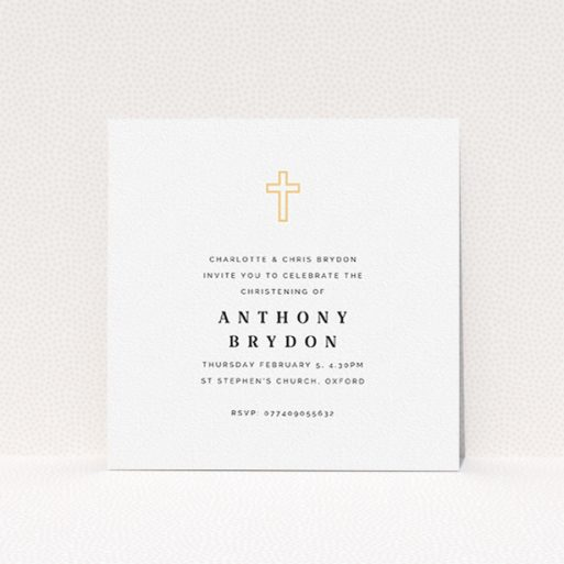 """A christening invitation called """"Bright Yellow Cross"""". It is a square (148mm x 148mm) invite in a square orientation. """"Bright Yellow Cross"""" is available as a flat invite, with tones of white and yellow."""