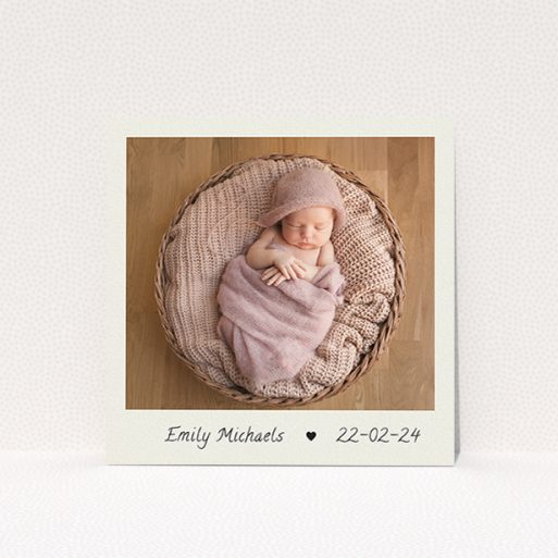"""A christening invitation design named """"By Hand"""". It is a square (148mm x 148mm) invite in a square orientation. It is a photographic christening invitation with room for 1 photo. """"By Hand"""" is available as a flat invite, with mainly cream colouring."""