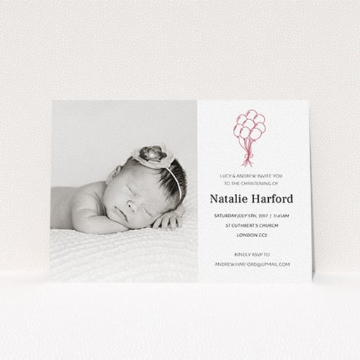 """A christening invitation called """"Celebration"""". It is an A6 invite in a landscape orientation. It is a photographic christening invitation with room for 1 photo. """"Celebration"""" is available as a flat invite, with tones of white and red."""