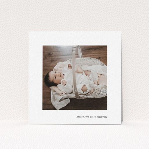 """A christening invitation design titled """"Christening Message Serif"""". It is a square (148mm x 148mm) invite in a square orientation. It is a photographic christening invitation with room for 1 photo. """"Christening Message Serif"""" is available as a flat invite, with mainly white colouring."""