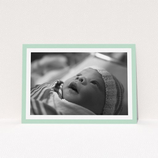 """A christening invitation design titled """"Classic Mint Photo Frame"""". It is an A5 invite in a landscape orientation. It is a photographic christening invitation with room for 1 photo. """"Classic Mint Photo Frame"""" is available as a flat invite, with tones of green and white."""