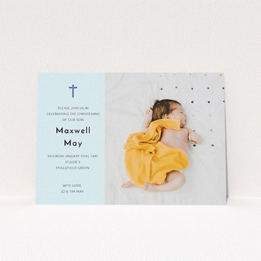 """A christening invitation design called """"Cross Photo"""". It is an A6 invite in a landscape orientation. It is a photographic christening invitation with room for 1 photo. """"Cross Photo"""" is available as a flat invite, with mainly blue colouring."""