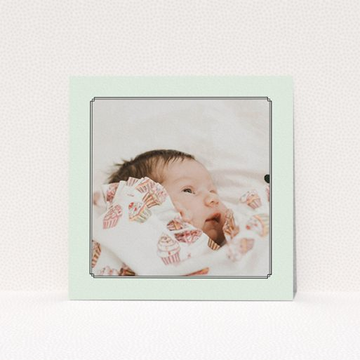 """A christening invitation design called """"Deco Mint Frame"""". It is a square (148mm x 148mm) invite in a square orientation. It is a photographic christening invitation with room for 1 photo. """"Deco Mint Frame"""" is available as a flat invite, with mainly green colouring."""