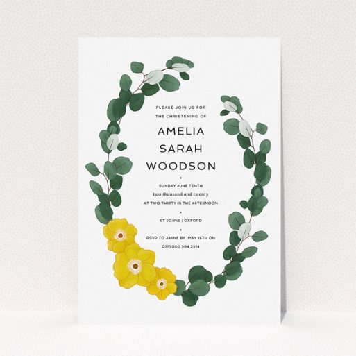 """A christening invitation named """"Eucalyptus Wreath"""". It is an A5 invite in a portrait orientation. """"Eucalyptus Wreath"""" is available as a flat invite, with tones of green and yellow."""