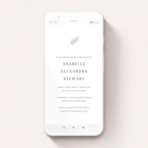 """A christening invitation for whatsapp design named """"Botanic Header"""". It is a smartphone screen sized invite in a portrait orientation. """"Botanic Header"""" is available as a flat invite, with tones of white and grey."""