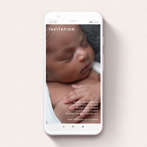 """A christening invitation for whatsapp named """"In the Corners"""". It is a smartphone screen sized invite in a portrait orientation. It is a photographic christening invitation for whatsapp with room for 1 photo. """"In the Corners"""" is available as a flat invite, with mainly white colouring."""