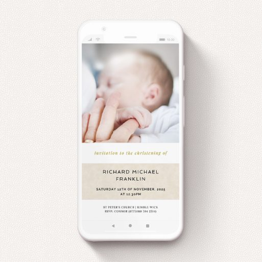 """A christening invitation for whatsapp design named """"Leather Band"""". It is a smartphone screen sized invite in a portrait orientation. It is a photographic christening invitation for whatsapp with room for 1 photo. """"Leather Band"""" is available as a flat invite, with mainly dark cream colouring."""