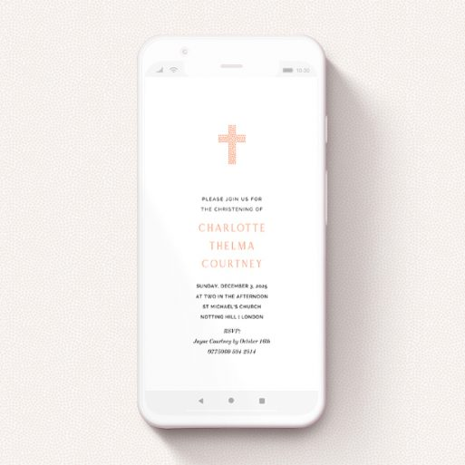 """A christening invitation for whatsapp named """"Peach Heart Cross"""". It is a smartphone screen sized invite in a portrait orientation. """"Peach Heart Cross"""" is available as a flat invite, with tones of white and pink."""
