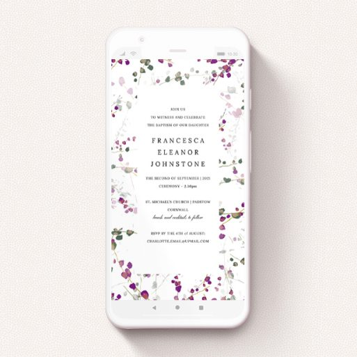 """A christening invitation for whatsapp design named """"Purple Lupine"""". It is a smartphone screen sized invite in a portrait orientation. """"Purple Lupine"""" is available as a flat invite, with tones of white and purple."""
