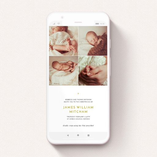 """A christening invitation for whatsapp named """"Quarters and a Half"""". It is a smartphone screen sized invite in a portrait orientation. It is a photographic christening invitation for whatsapp with room for 4 photos. """"Quarters and a Half"""" is available as a flat invite, with tones of white and gold."""