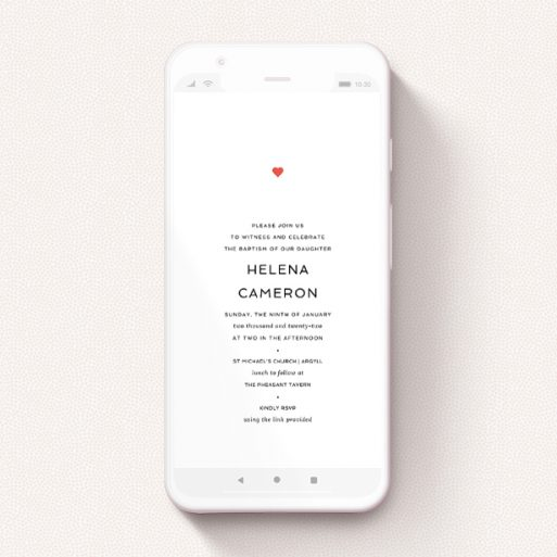 """A christening invitation for whatsapp design titled """"Simple Heart"""". It is a smartphone screen sized invite in a portrait orientation. """"Simple Heart"""" is available as a flat invite, with tones of white and red."""