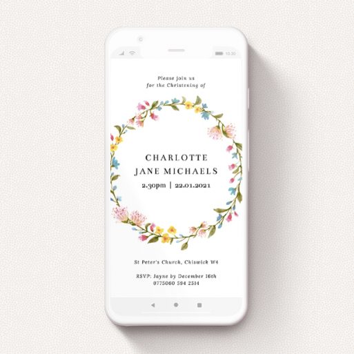 """A christening invitation for whatsapp called """"Summer Wreath"""". It is a smartphone screen sized invite in a portrait orientation. """"Summer Wreath"""" is available as a flat invite, with mainly pink colouring."""