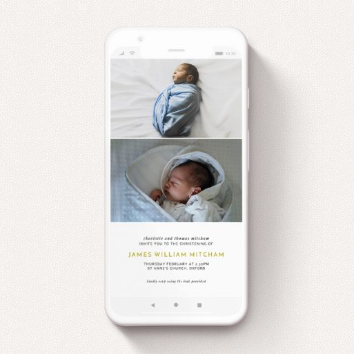 """A christening invitation for whatsapp named """"Three Thirds"""". It is a smartphone screen sized invite in a portrait orientation. It is a photographic christening invitation for whatsapp with room for 1 photo. """"Three Thirds"""" is available as a flat invite, with tones of gold and white."""