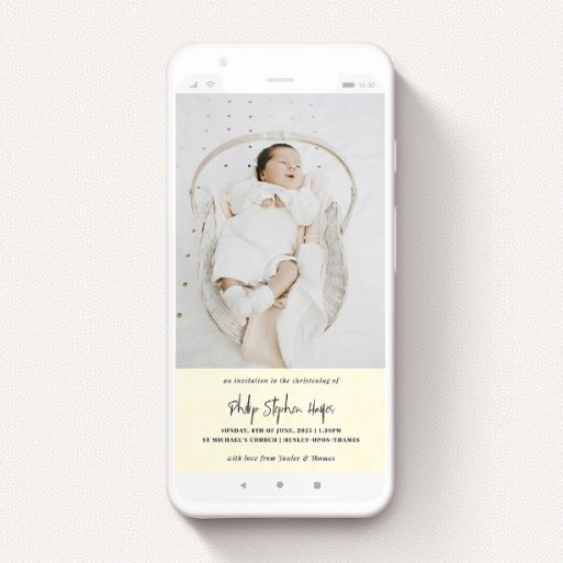 """A christening invitation for whatsapp design named """"Worn Yellow"""". It is a smartphone screen sized invite in a portrait orientation. It is a photographic christening invitation for whatsapp with room for 1 photo. """"Worn Yellow"""" is available as a flat invite, with mainly cream colouring."""
