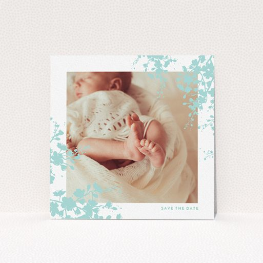 """A christening invitation design named """"Forest Frame"""". It is a square (148mm x 148mm) invite in a square orientation. It is a photographic christening invitation with room for 1 photo. """"Forest Frame"""" is available as a flat invite, with tones of blue and white."""