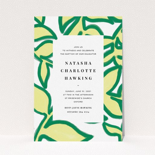 """A christening invitation template titled """"Fresh Vines"""". It is an A5 invite in a portrait orientation. """"Fresh Vines"""" is available as a flat invite, with tones of green and white."""