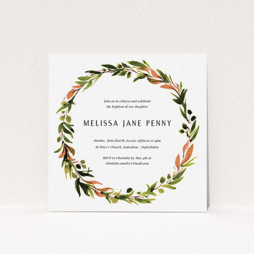 """A christening invitation design called """"Greco Wreath"""". It is a square (148mm x 148mm) invite in a square orientation. """"Greco Wreath"""" is available as a flat invite, with tones of green, dark green and terracotta."""