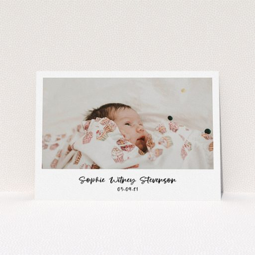 """A christening invitation design named """"Handwritten Photo"""". It is an A5 invite in a landscape orientation. It is a photographic christening invitation with room for 1 photo. """"Handwritten Photo"""" is available as a flat invite, with mainly white colouring."""